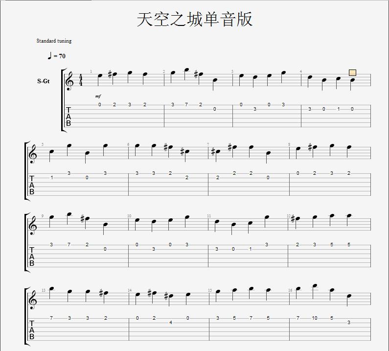 天空之城最简单的吉他谱,用一根弦弹的?在线等