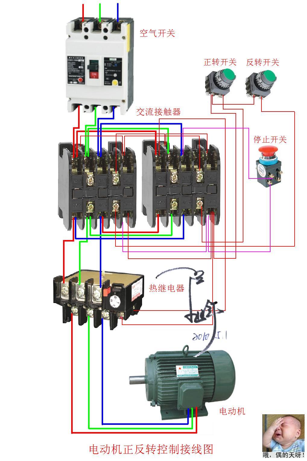 电动机正反转接线图问题,此图是接触器联锁还是按钮联锁