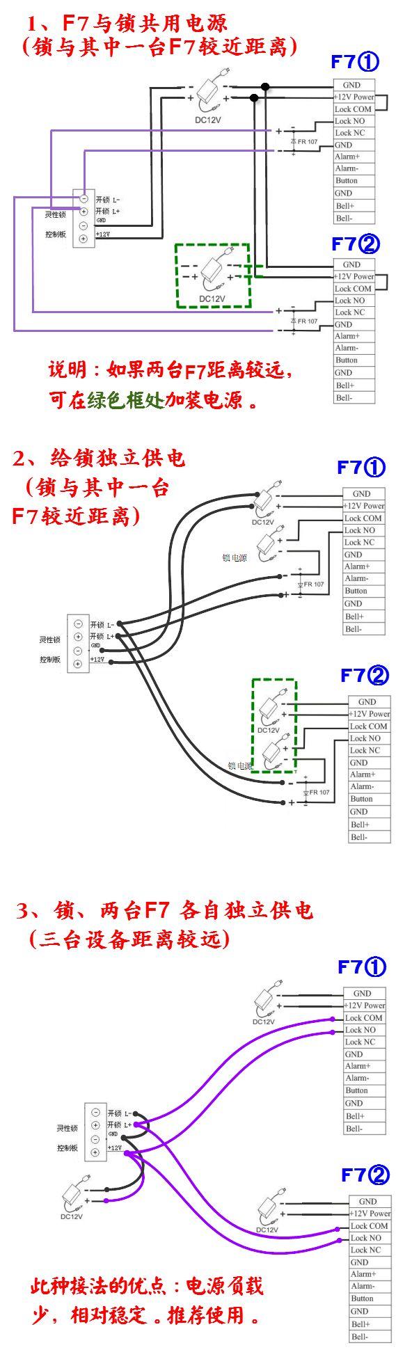 2个f7门禁控制1个灵性锁的接线图