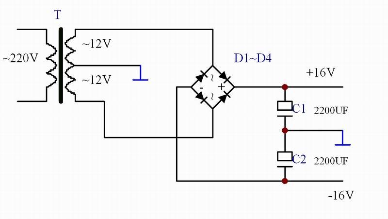 双12v变压器,怎样整流滤波得到正负16v