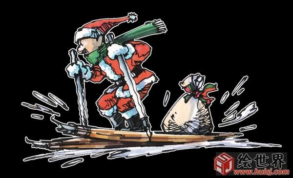 求一张圣诞老人手绘漫画侧脸图