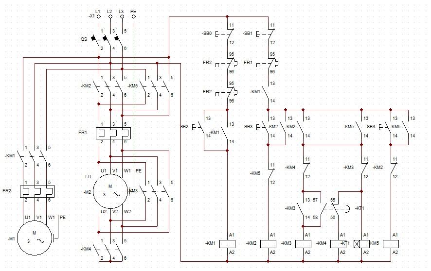 双速电机电路要求控制电路图