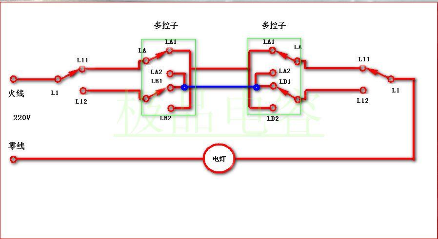 下面提供给你正确的电路图 中间两个开关要用双控子,大部分开关店有