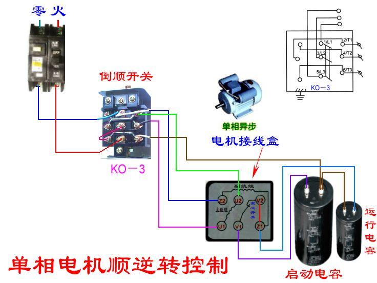 求单相双值电容电机用倒顺开关控制正反转,接线图