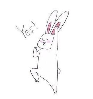 线条简单的卡通白色兔子耳朵粉色脸颊有浅粉色红晕眼睛是两个小点叫