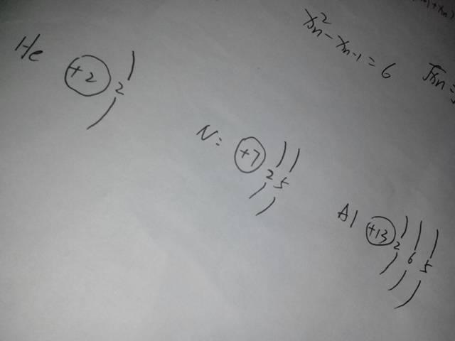 氦,氮,铝的原子结构示意图