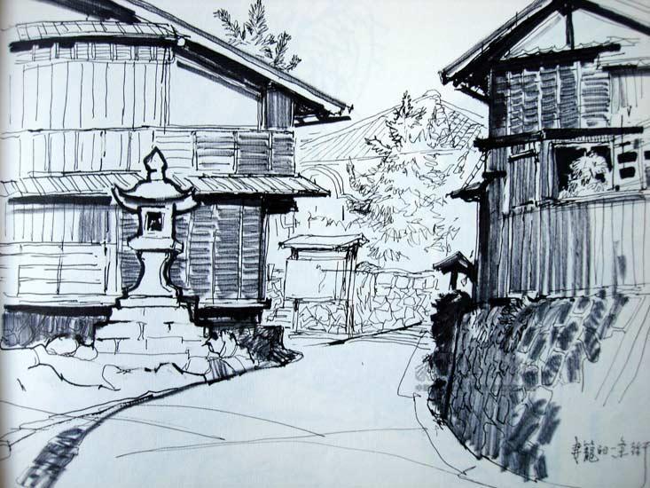 怎么画建筑风景速写啊 比如校园一角图片