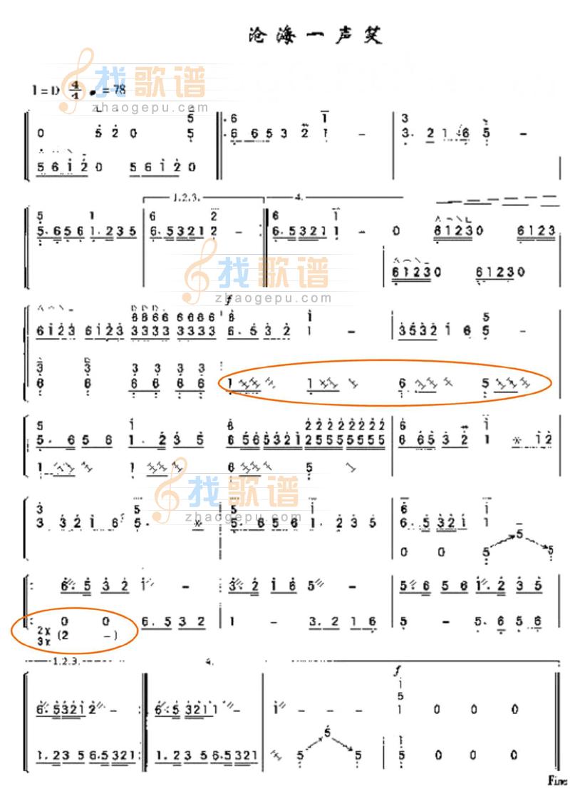 能否把《沧海一声笑》的古筝简谱,单手和双手的资料发给我一份?图片