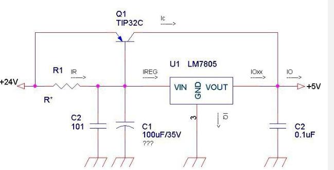 用7812稳压 tip42c扩流 电路怎么做