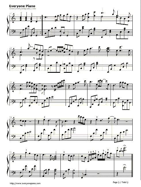 《时间煮雨》的钢琴谱子,不要简谱,就谱子就行