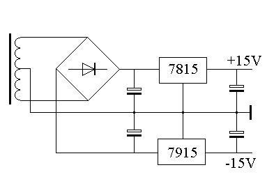只能以变压器的中心抽头为地线,只需要一个整流桥,它的输出分别是正负