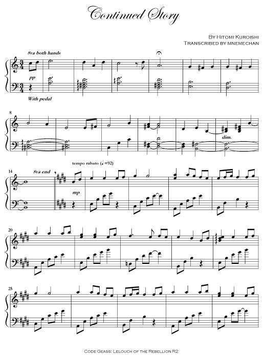 我也只有钢琴谱而已 continued story 的