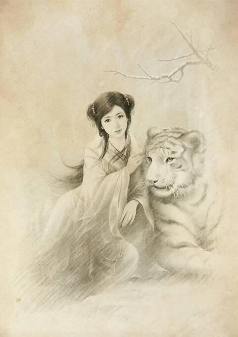 古代漫画美少女素描图片(手绘)百