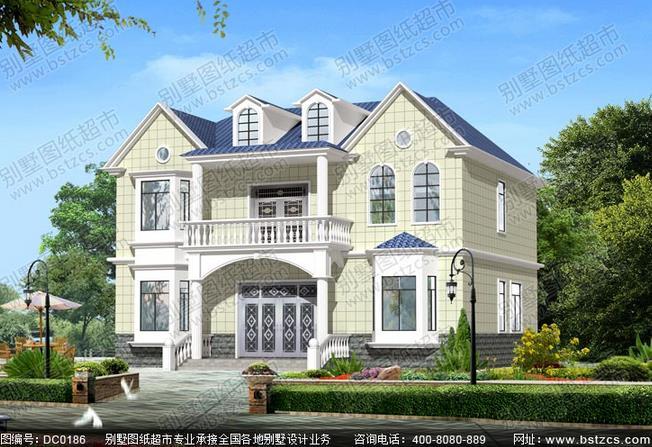 求农村二层半占地面积13x11米别墅设计图纸及外观图片图片