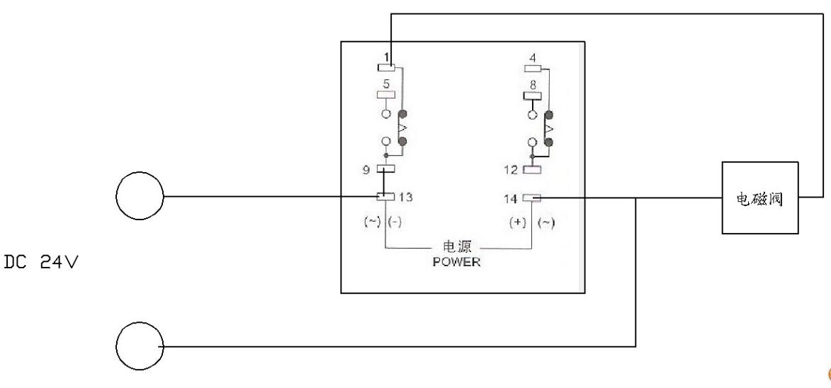 欧姆龙h3y-2时间继电器怎么实现通电延时,接dc24v电磁阀.