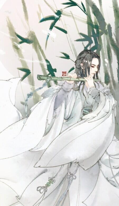 求古风高清美男撑伞漫步在竹林间背影电脑壁纸桌面