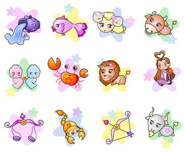 12星座的卡通图片,加每个星座的特点
