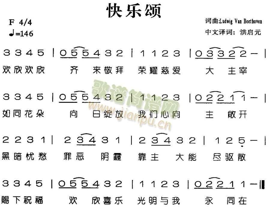 活佛济公主题曲快乐颂的简谱,看清楚,是简谱,就是那种图片