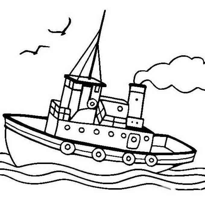 公园玩游船手绘图