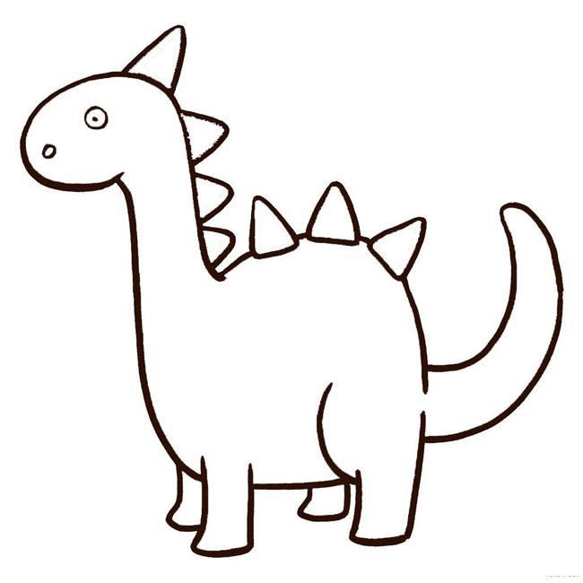 幼儿简笔画恐龙,一步一步的带步骤