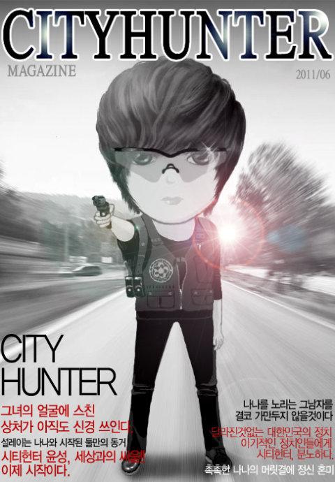 求李敏镐在城市猎人里卡通图,戴口罩拿枪的
