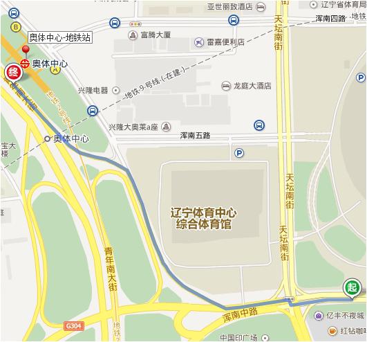 395公交车有【奥体中心南门站】,距离地铁站步行约1公里