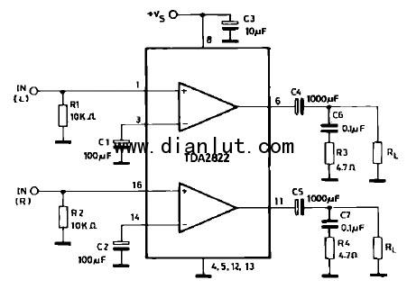 这个是功放电路图,电压3~18v,电子元件不多,很适合你!