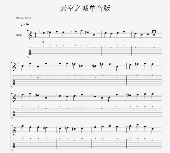 求这种吉他单音谱,不要在c调音阶上弹的简谱图片