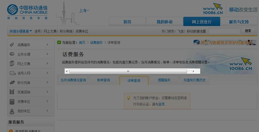上海移动网上营业厅点详单查询怎么一直这样.输动态
