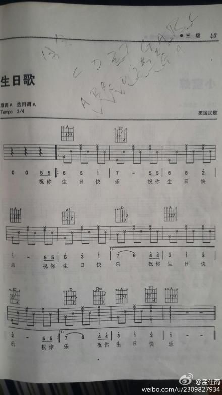 急需祝你生日快乐的吉他谱,最好标注手指按哪个品,我不太认识简谱.