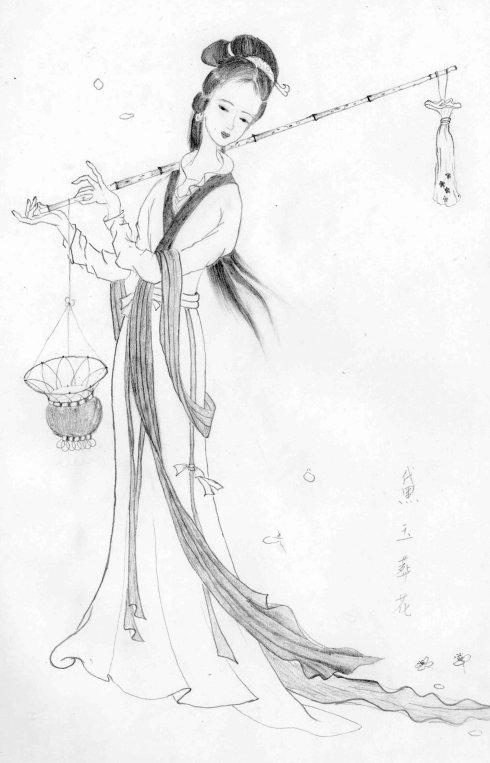 古代美少女铅笔画