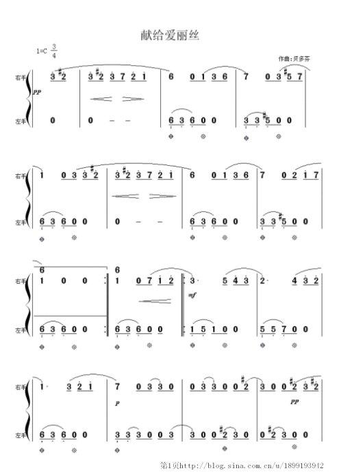 谁有献给爱丽丝钢琴曲的数字版简谱图片?数字的,左右