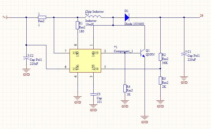 此图为34063的电路,图中芯片为34063,属于开关电源,输入0~24v,输出