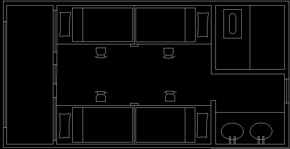 求cad大神给画个寝室平面图,草图呈上,大概标了下比例图片