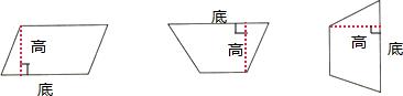 画出下面平行四边形和梯形的高,并标明相应的底图片