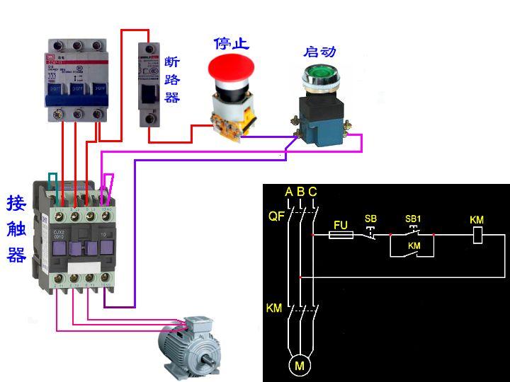 三相电动机的电路图与接线图