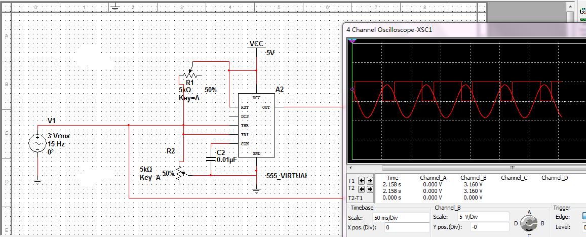 555施密特触发器构成的整形电路.