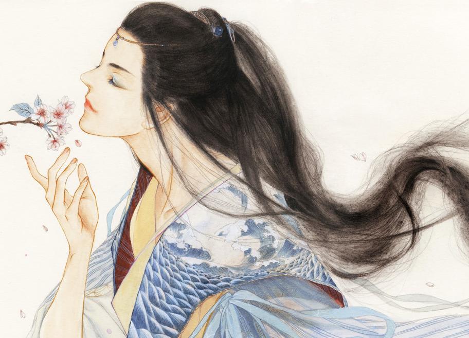求解答像昔酒011这样的古风头发的手绘方法!是手绘.