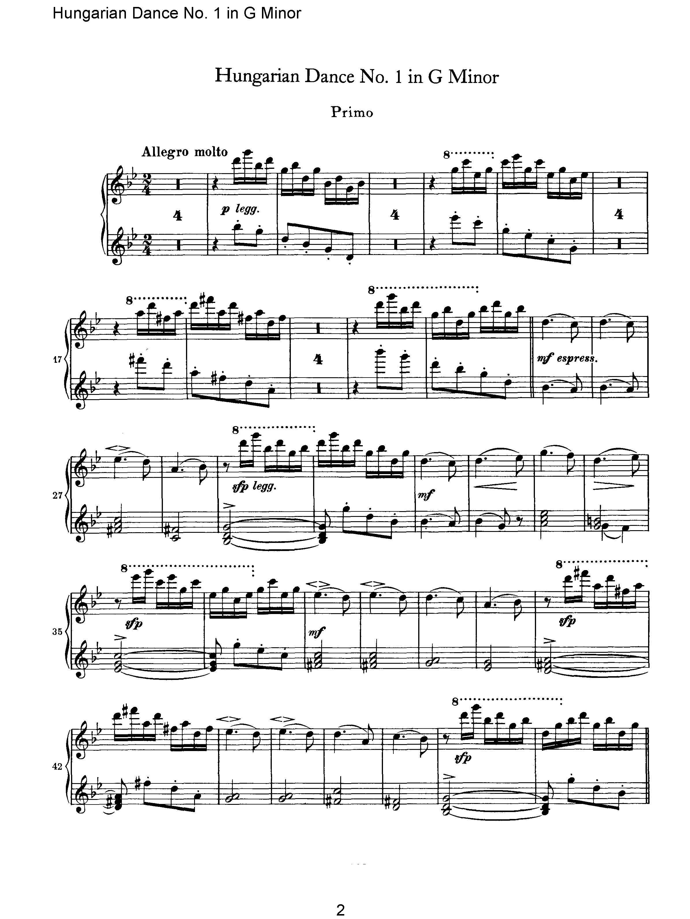 匈牙利舞曲第一号四手联弹钢琴谱图片