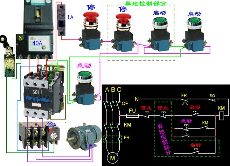 设计一台三相异步电动机控制线路要求1能实现启,停两地控制2能实现点