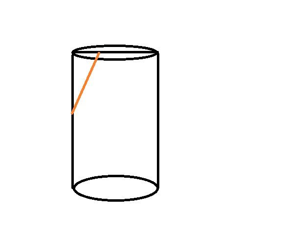 圆柱体斜切一刀,求剩余部分体积