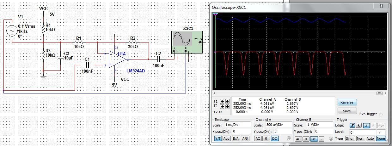 lm324单电源供电,构成同相放大电路,波形出来不对,奇怪