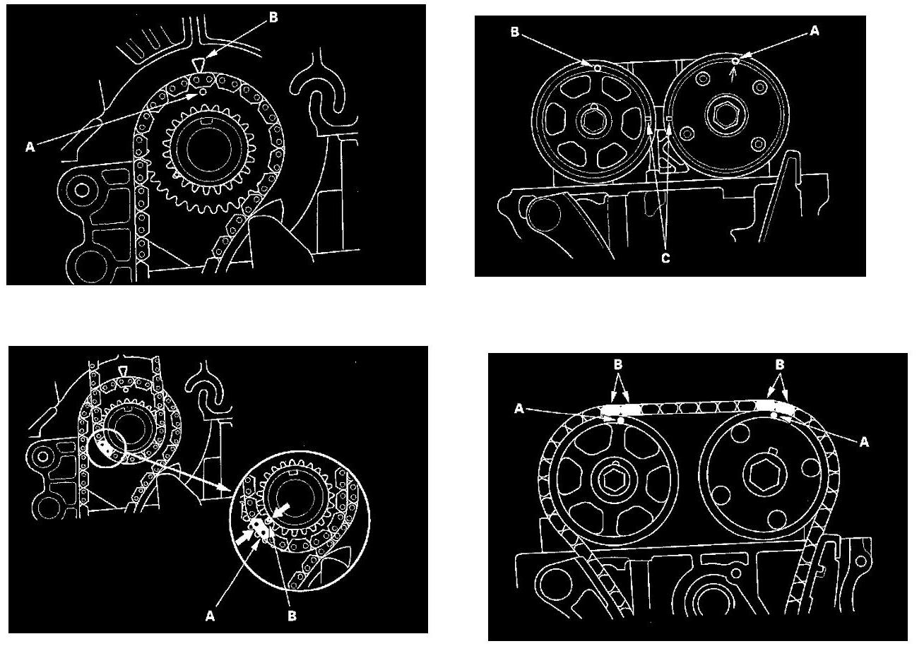 本田奥德赛2.4发动机正时链条安装记号,和机油泵链条记号