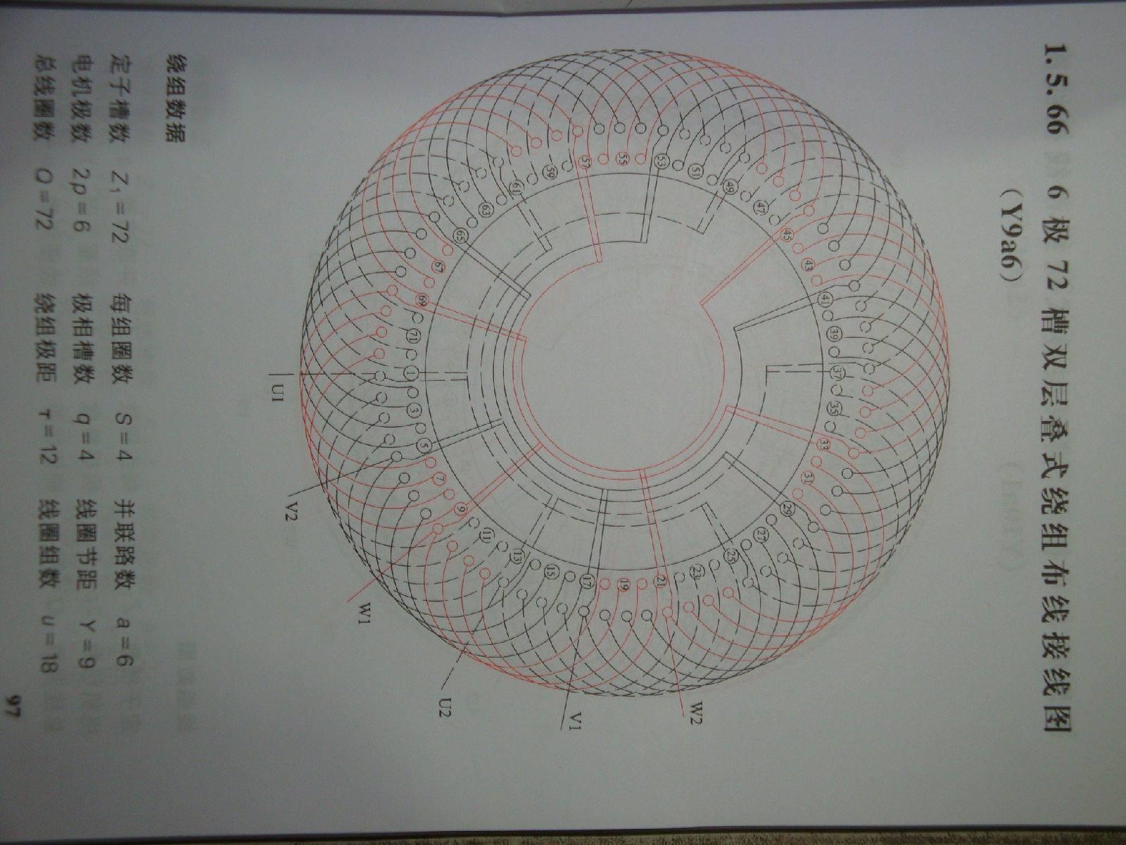 55千瓦72槽6机电机6路接线图