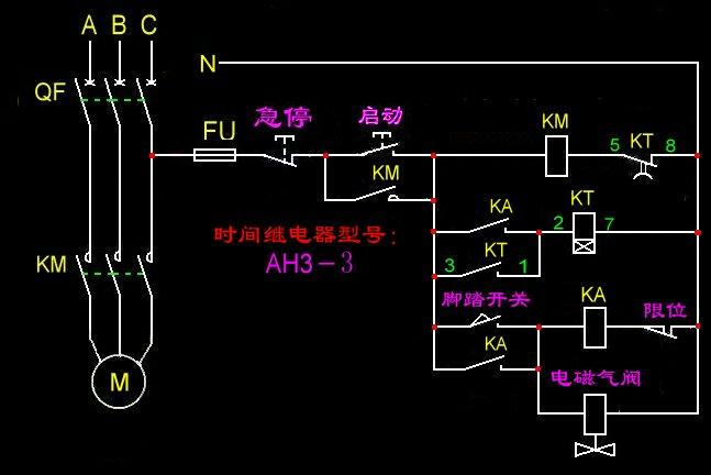 求木工单排钻控制电路图,电器原件有电磁阀,电机,启动