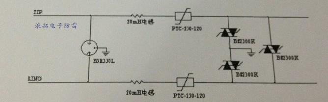 在电话线的防雷电路中后级尽量避免使用tvs二极管.