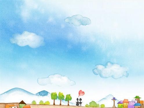 水彩画图片简单画天空