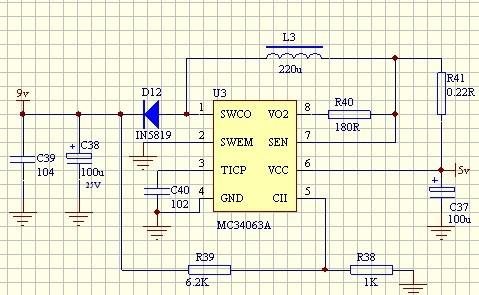 将直流5v电压变成直流9v电压的电路图