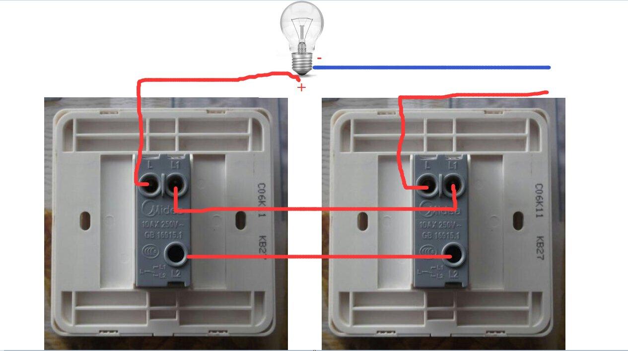 一灯二控开关接线图视频教程