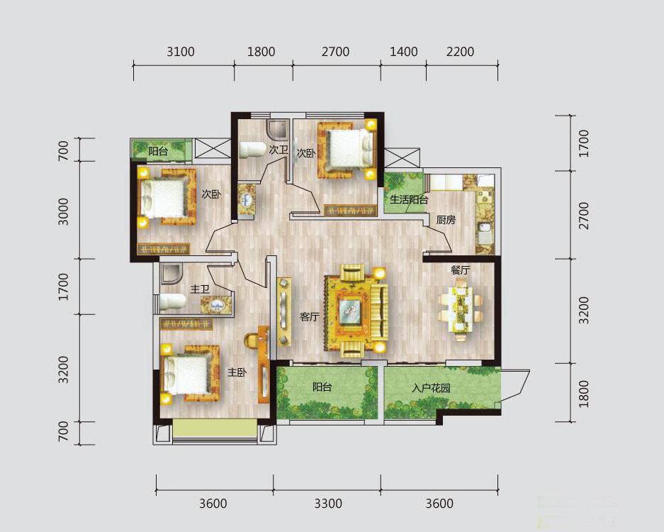 三室二厅改造为四室一厅.想改造一个书房,主卧室飘窗改书桌.